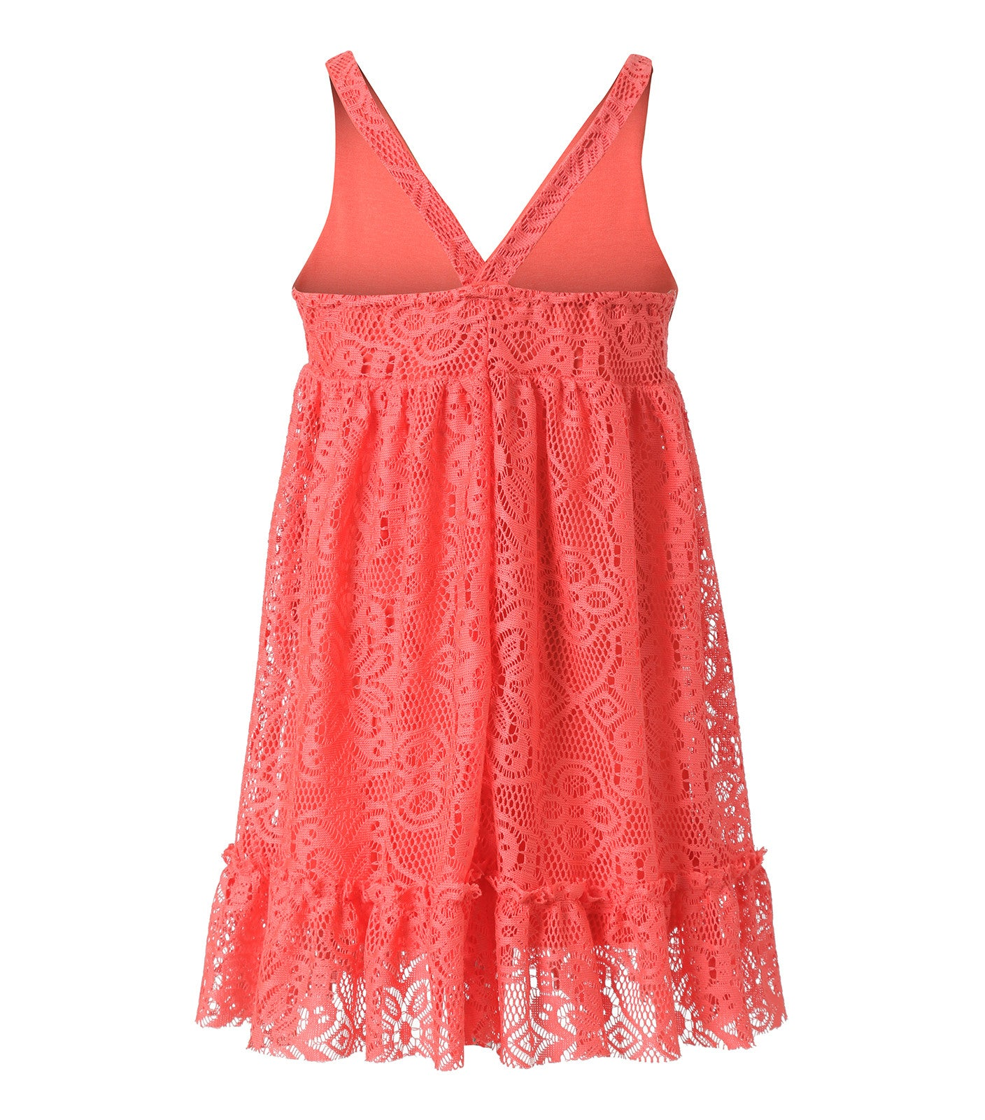 Girl Lace Summer Dress in Coral Colour