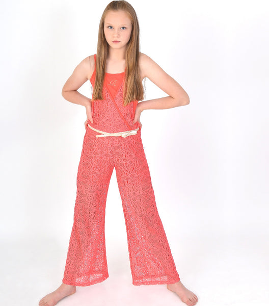 Girls Lace Jumpsuit in Coral Colour