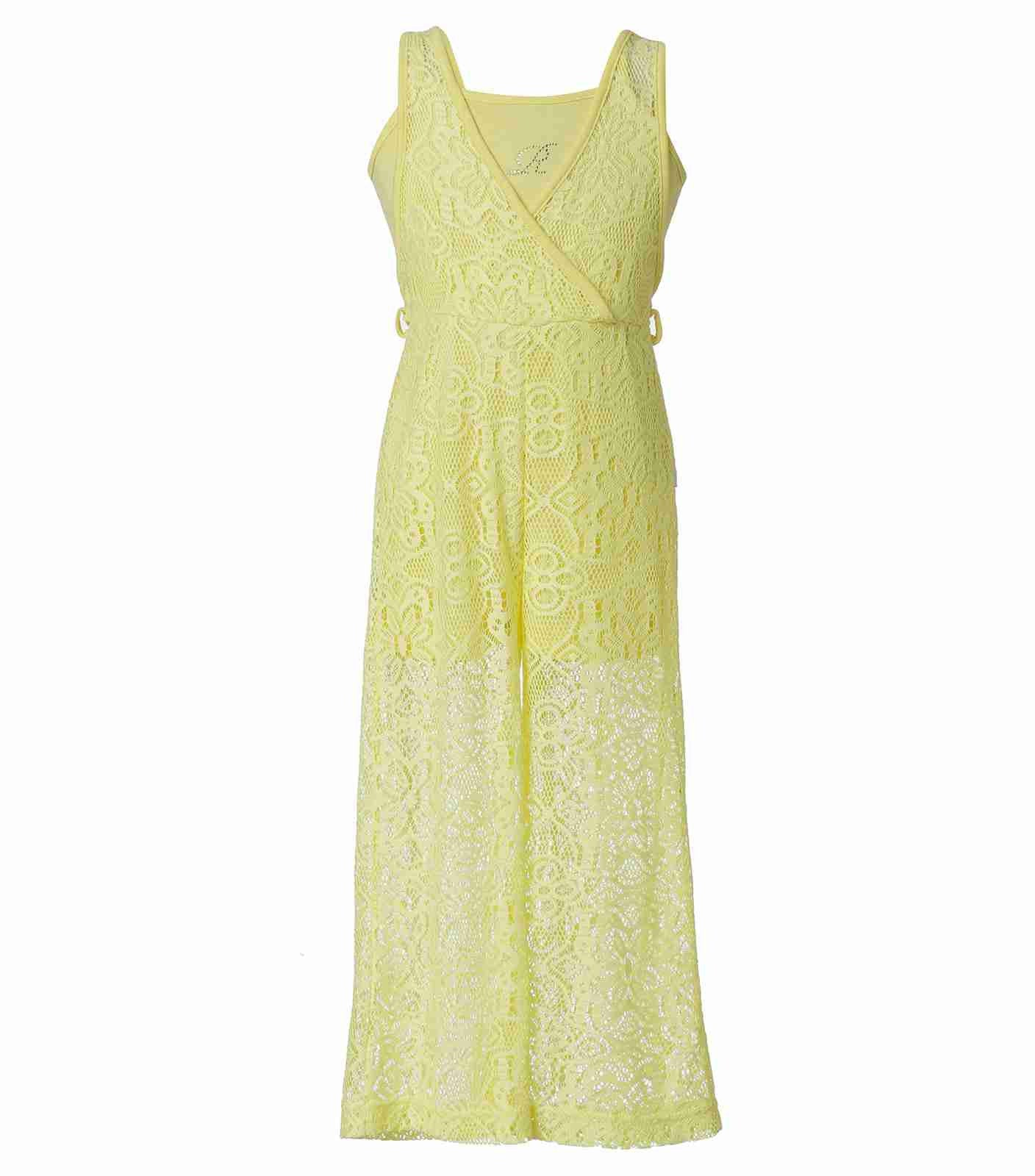 Girls Lace Jumpsuit in Yellow