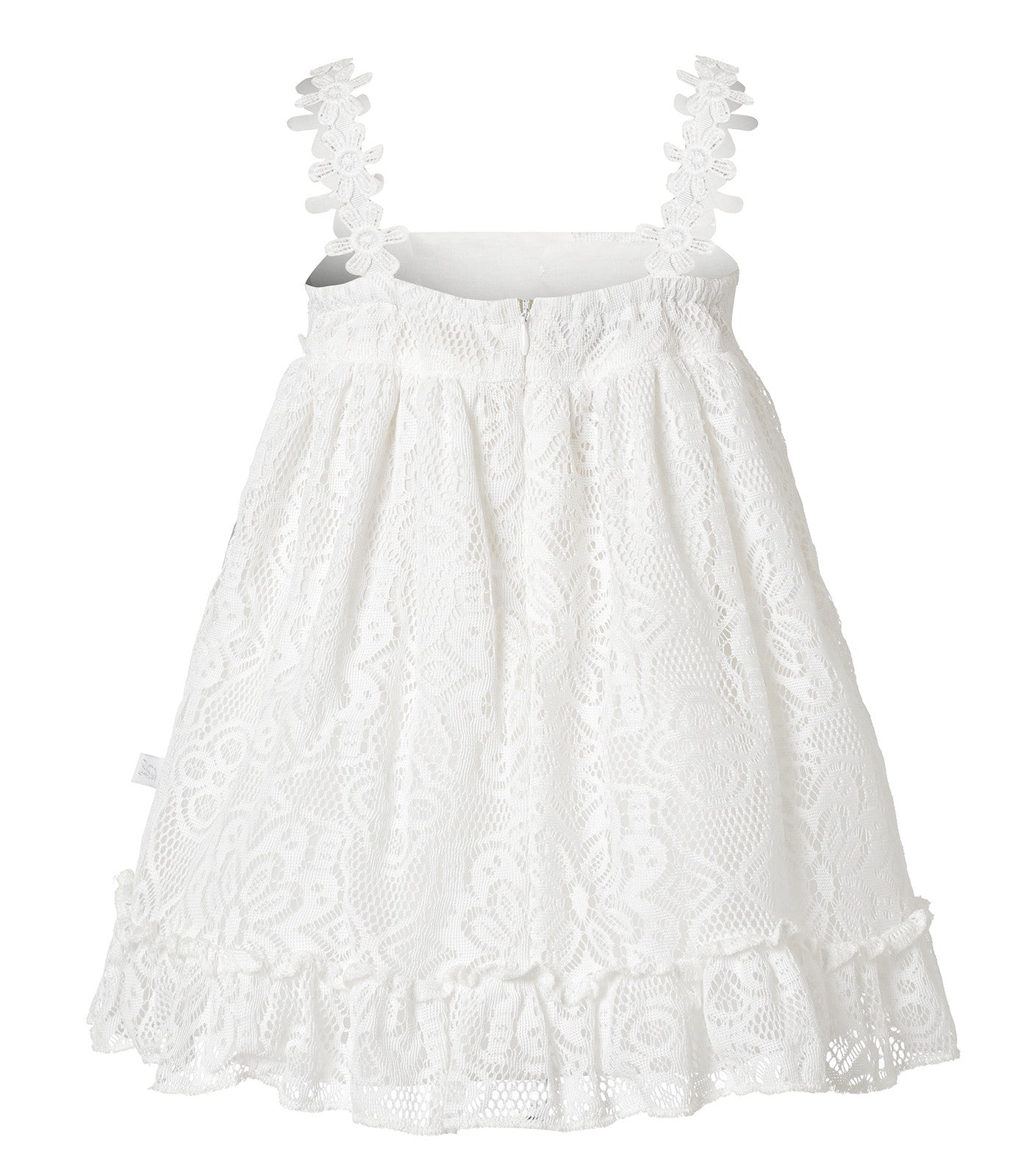 Baby Girls Flower Lace Dress in White