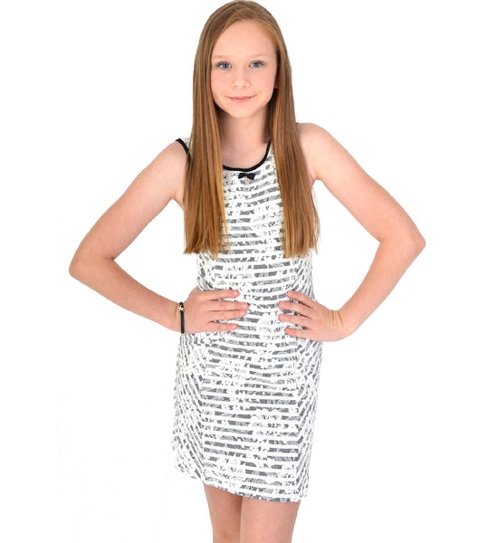 Girls Mesh Dress Black & White Floral