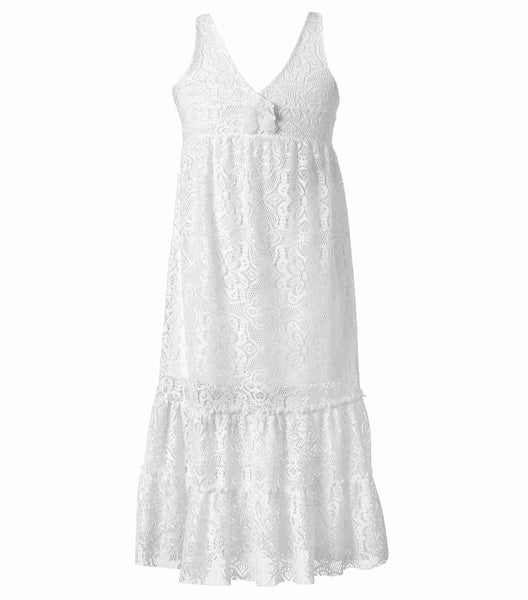Girls White Maxi Lace Summer Dress