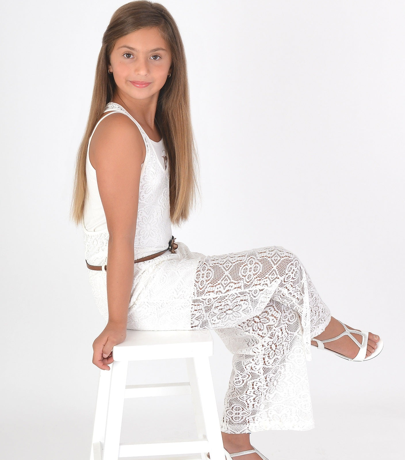Stylish new jumpsuit with laces in white colour
