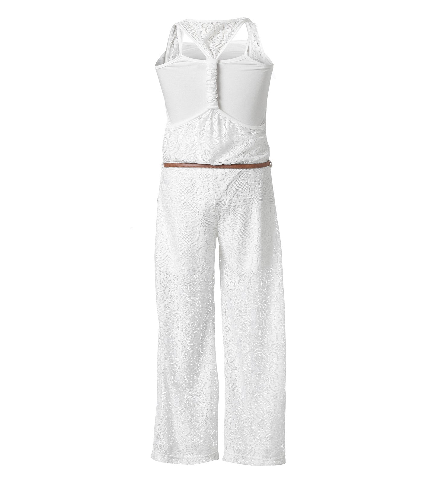 Lace Jumpsuit in White For Girls