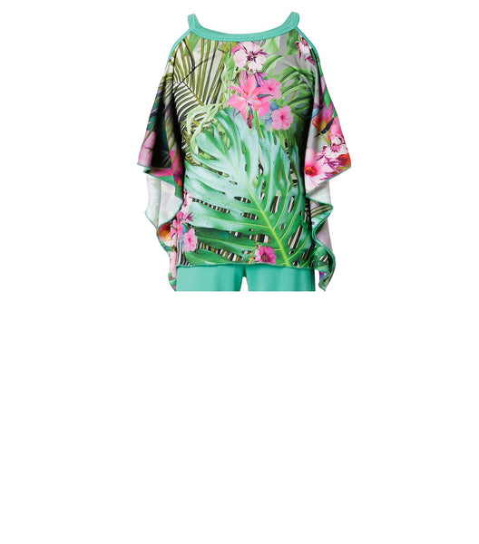 Girls Tropical Floral Blouse in Green & Pink