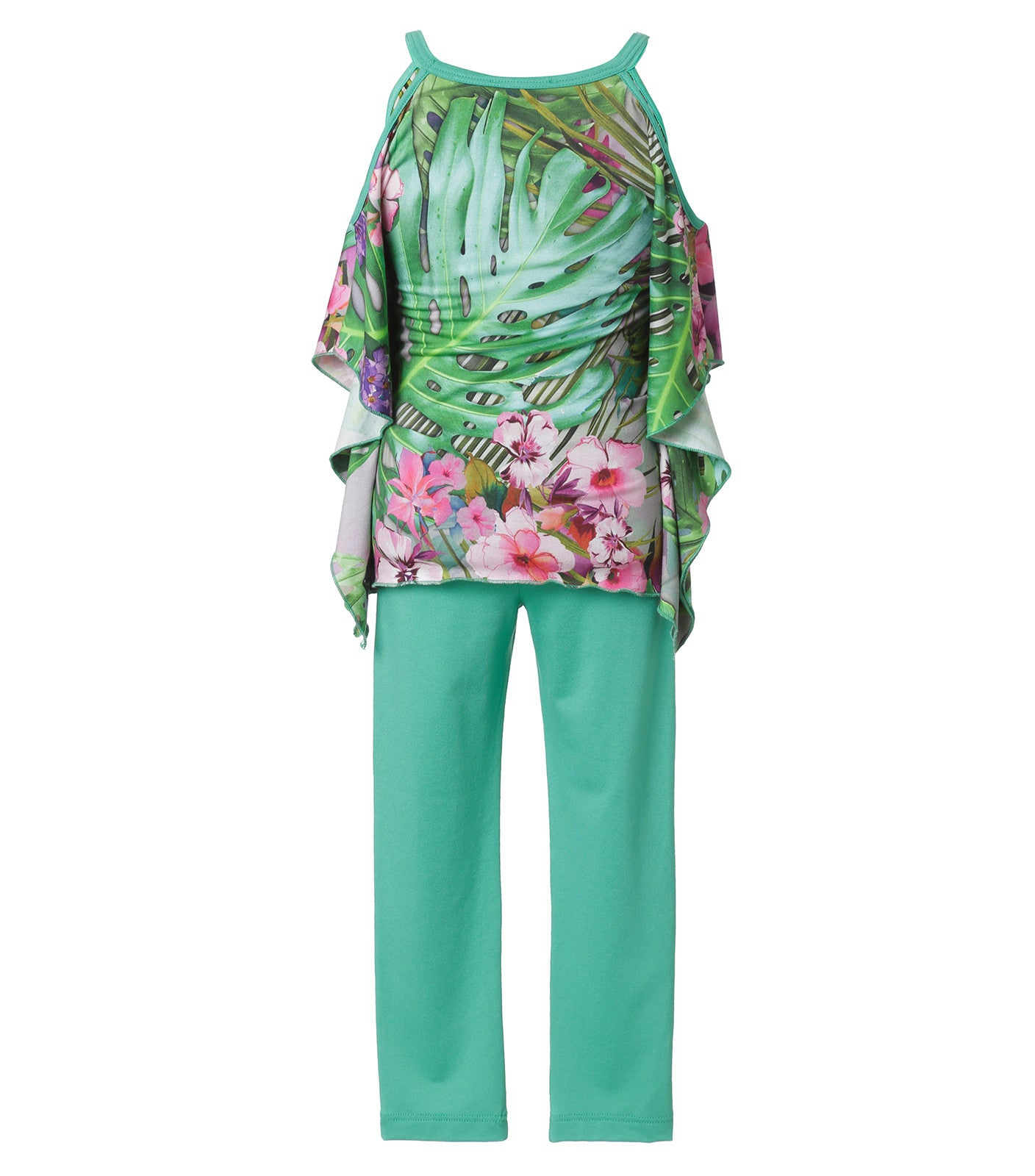 floral blouse in green
