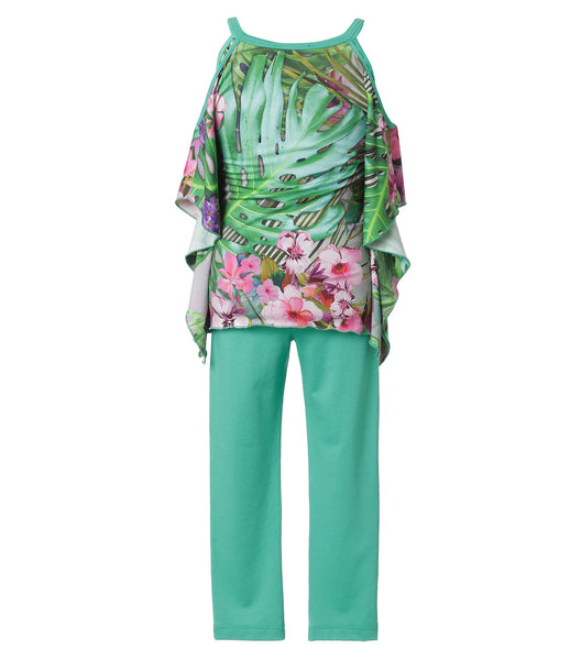 Girls 2 Pieces Set Tropical Print Blouse & Leggings