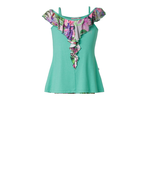 Girls Tropical Ruffle Blouse in Green