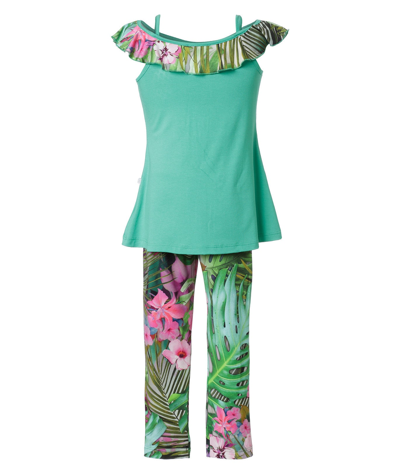 Green Floral dress set for girls