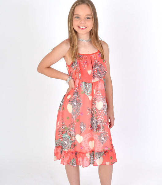 Girls Summer Ruffle Hem Dress in Coral Pink