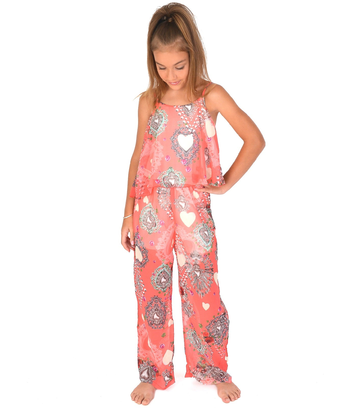 Girls Jumpsuit in Coral pink