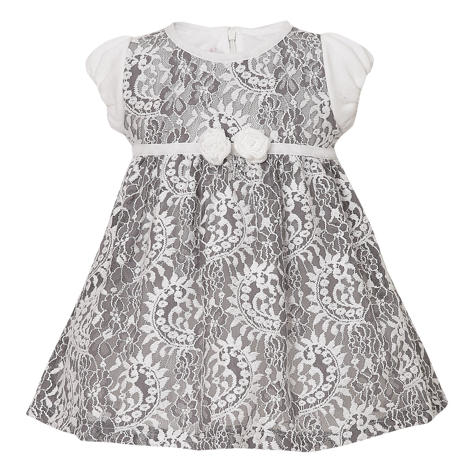 Baby Girl embroidery Dress in White & Gray