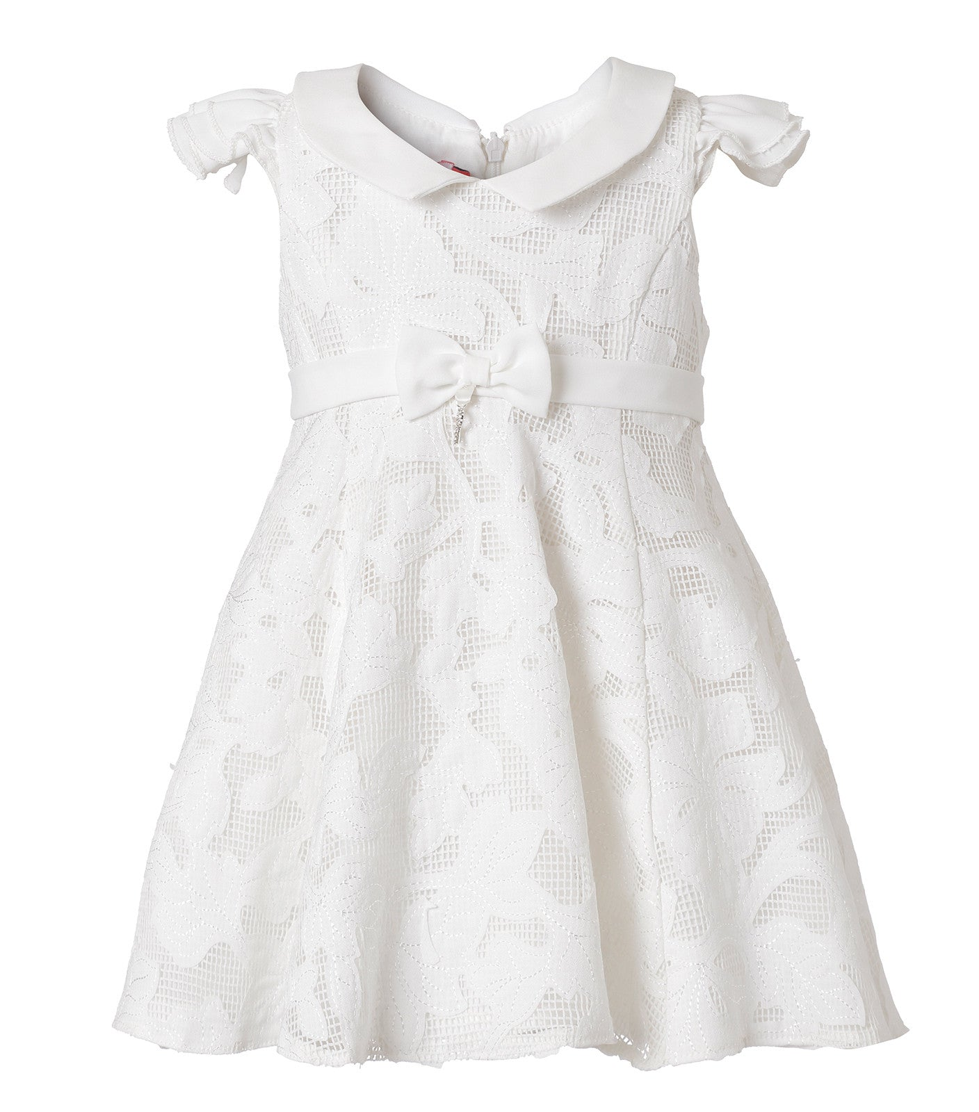 Baby Girls Floral lace Christening Dress in White