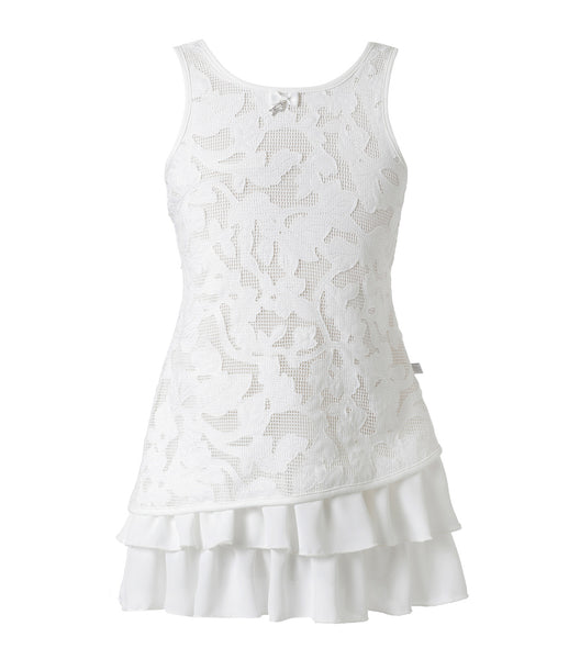 Girl Dress in White Embroidered flowers
