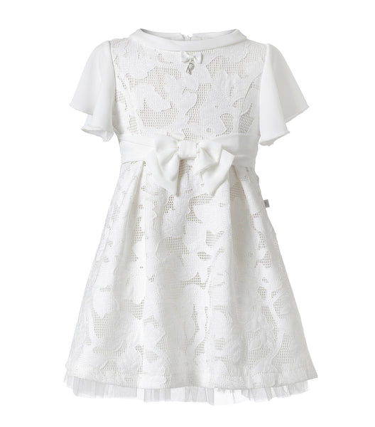 Flower Inwrought Dress in white