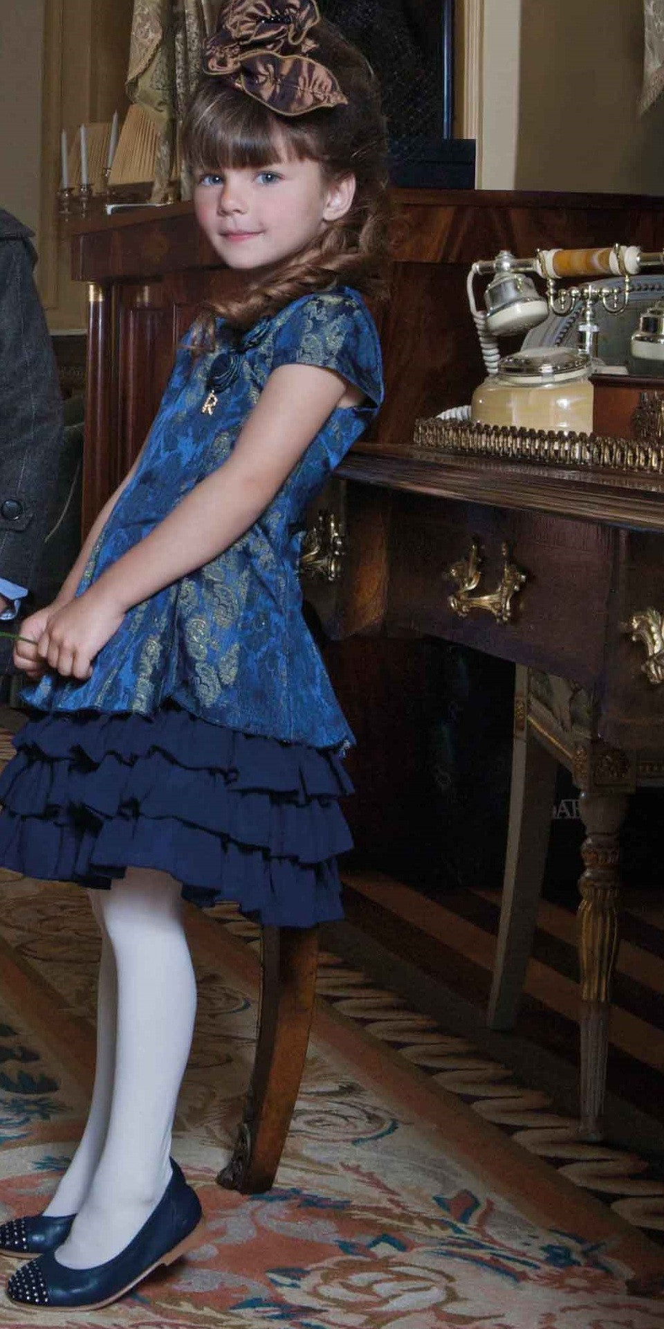 Girl Elegant Ruffle Dress in Blue