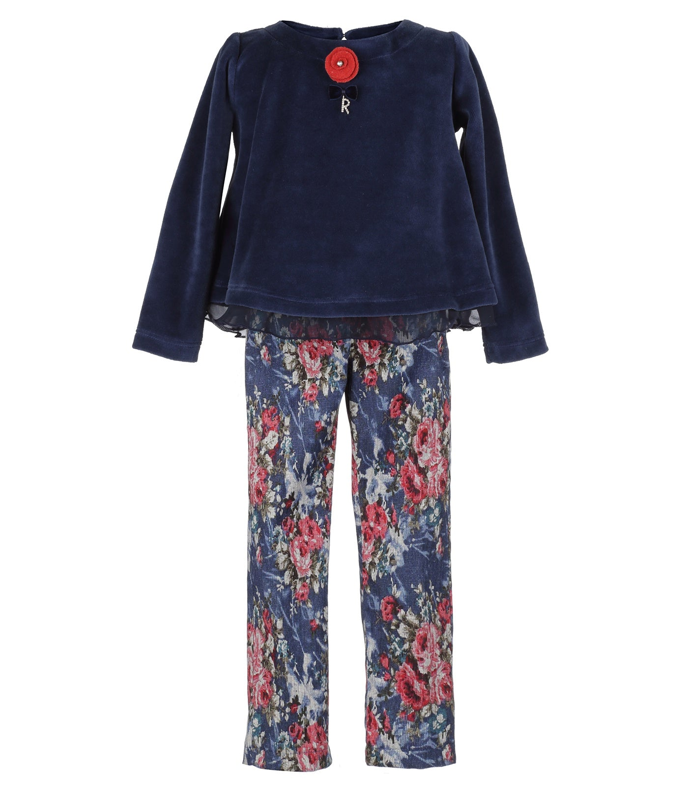 Girl Floral Pants in Blue & Red