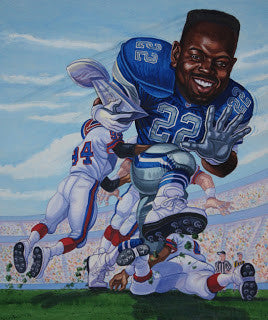 Emmitt Smith Old School Cowboy | Mudge Studios 90's Sports Caricature