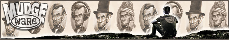 Abraham Lincoln Apparel, mugs, tote bags and more by Mudge Studios.