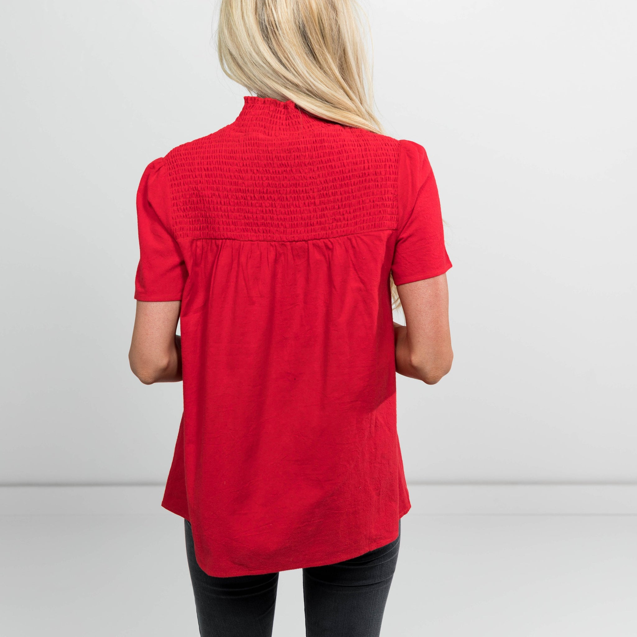 Jennings High Neck Top in Red