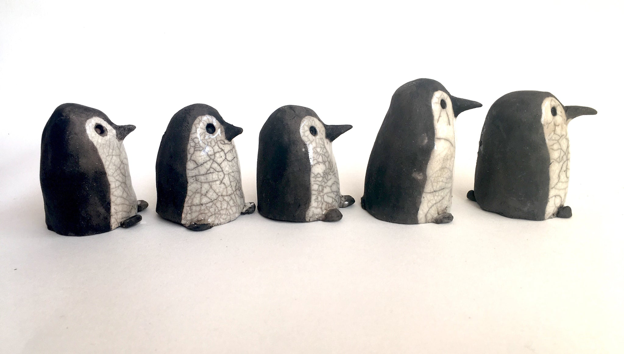 Ceramic Penguins - Raku fired