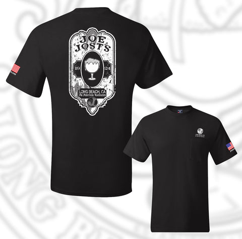 Joe Jost's Beer Label Tee Black With pocket