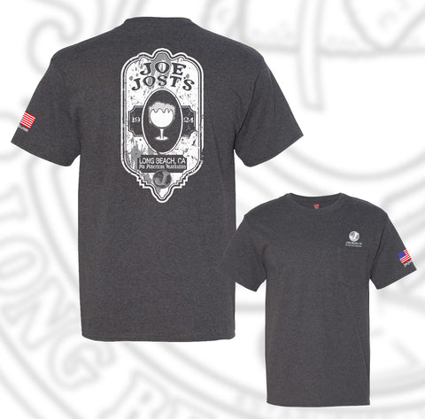 Joe Jost's Beer Label Tee Charcoal With pocket