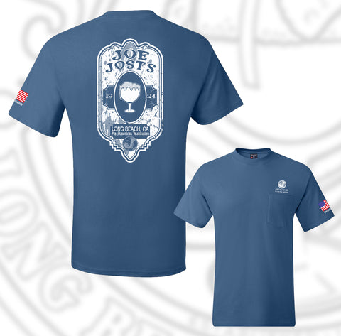 Joe Jost's Beer Label Tee Denim Blue With pocket