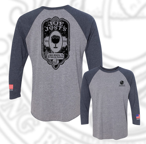 Joe Jost's Beer Label Baseball Raglan Navy/heather