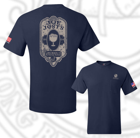 Joe Jost's Beer Label Tee Navy With pocket