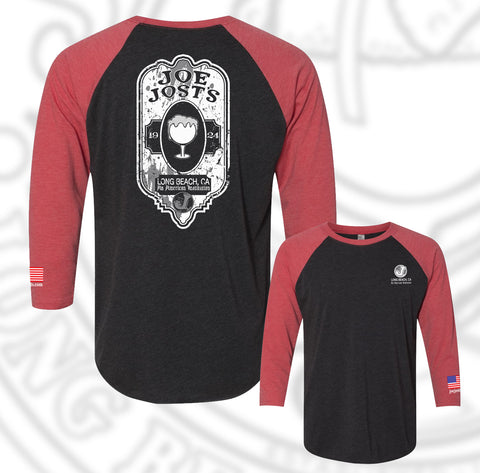 Joe Jost's Beer Label Baseball Raglan Red/Black