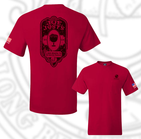 Joe Jost's Beer Label Tee Red With Pocket