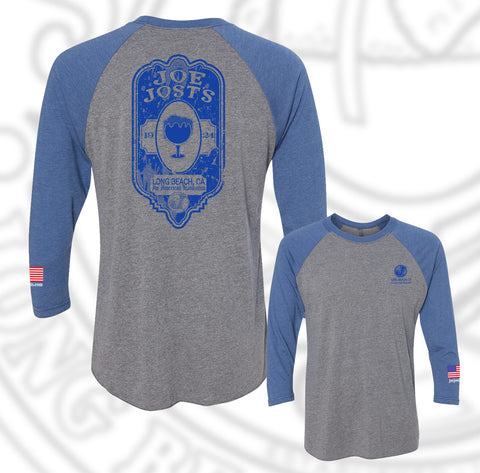 Joe Jost's Beer Label Baseball Raglan Vintage Royal/ash