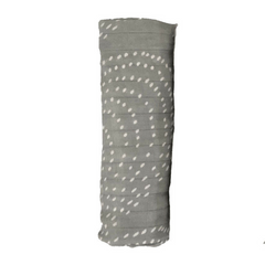 Image of Bamboo Muslin Baby Swaddle Blankets - Grey + White Dots