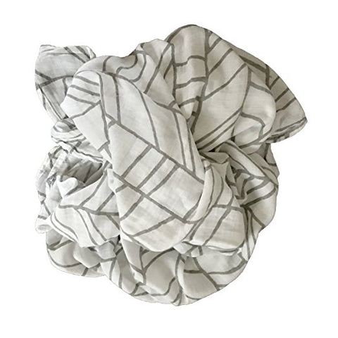 Bamboo Muslin Baby Swaddle Blankets - White + Grey Arrows