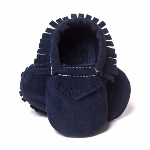 Elijah Suede Fringe Soft Sole Crib Shoes - Navy