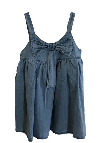 Brooklynn Faded Soft Denim Bow Sleeveless Summer Dress