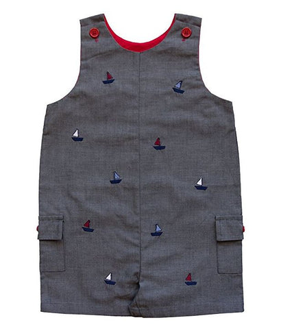 Brennan Dark Grey Sailboat Sleeveless Romper