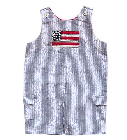 Colvin Blue + White Seersucker USA Flag Sleeveless Romper