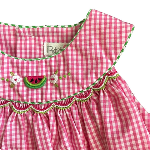 Emery Pink + White Plaid Watermelon Summer Dress + Bloomers