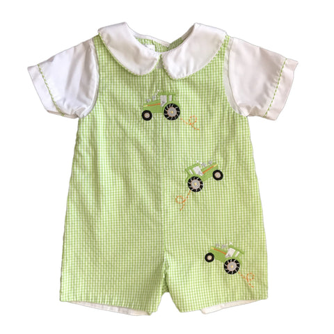 PETIT AMI Green + White Plaid Tractors Summer Romper