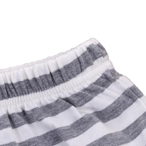 Isaac Striped Cotton Diaper Covers - Grey + White