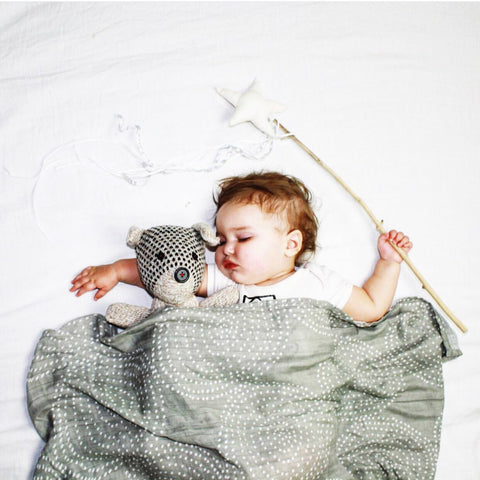 Bamboo Muslin Baby Swaddle Blankets - Grey + White Dots