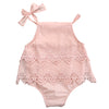 Image of Abigail Lace Spaghetti Strap Summer Romper - Pink