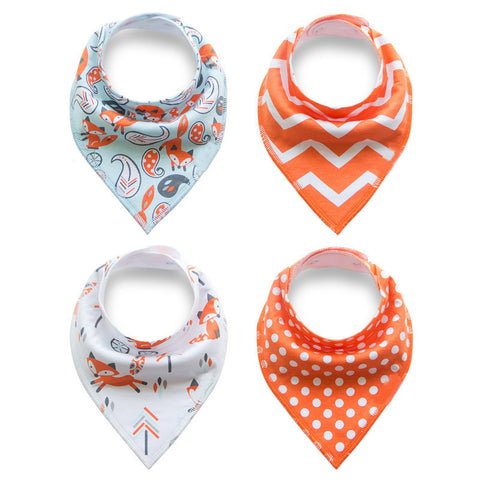 Bandana Drool Bib 4-Piece Sets - Various Colors + Patterns
