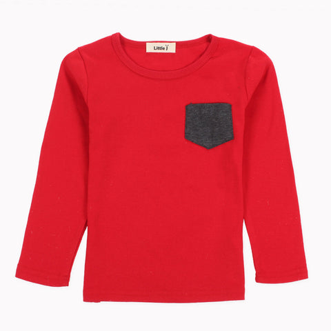 Timothy Colored Pocket Long Sleeve Top - Red