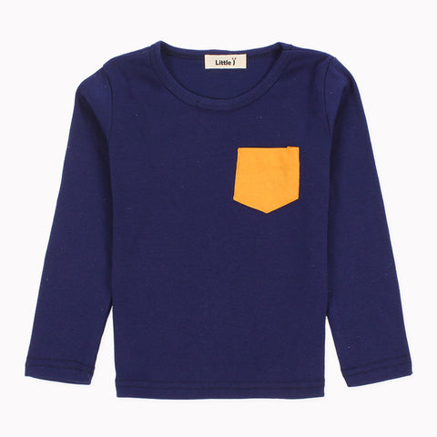 Timothy Colored Pocket Long Sleeve Top - Navy