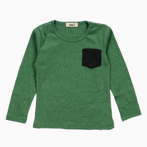 Timothy Colored Pocket Long Sleeve Top - Green
