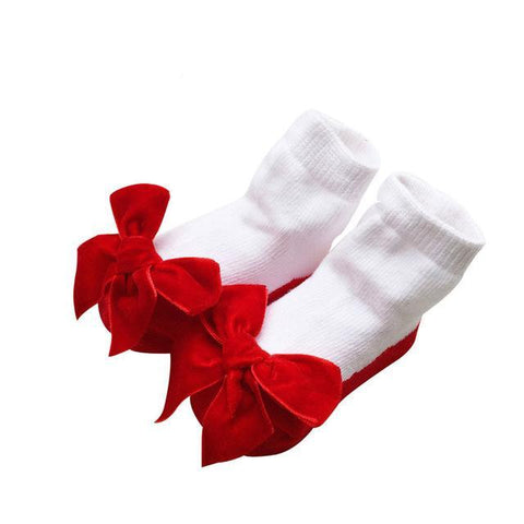 Chloe Faux Shoe Socks with Bows - Various Colors