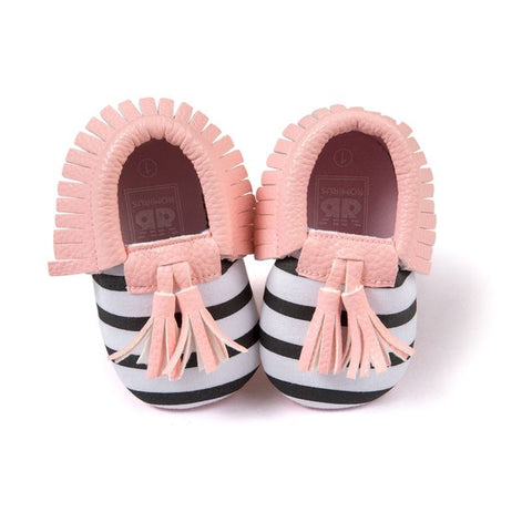 Lynette Tassel + Fringe Soft Sole Faux Leather Crib Shoes - Various Colors